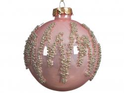 Acheter Boule de Noël rose avec décor de perles argentées - 8 cm - 2,99€ en ligne sur La Petite Epicerie - Loisirs créatifs