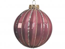 Acheter Boule de Noël vieux rose avec lignes paillettées - 8 cm - 2,99€ en ligne sur La Petite Epicerie - Loisirs créatifs