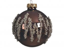 Acheter Boule de Noël marron avec décor de perles argentées - 8 cm - 2,99€ en ligne sur La Petite Epicerie - Loisirs créatifs