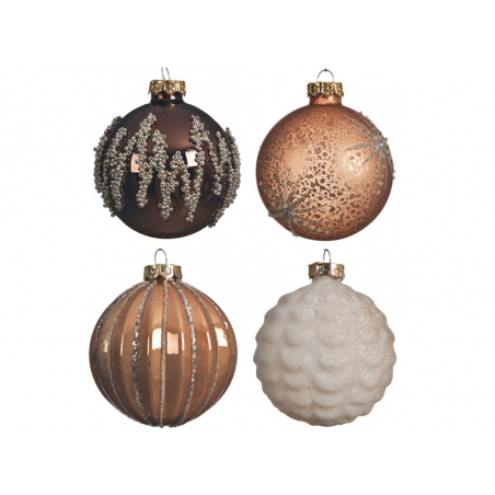 Acheter Boule de Noël cuivrée avec lignes pailletées - 8 cm - 2,99€ en ligne sur La Petite Epicerie - Loisirs créatifs
