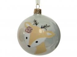 Acheter Boule de Noël biche en verre - blanc - 8 cm - 3,99€ en ligne sur La Petite Epicerie - Loisirs créatifs