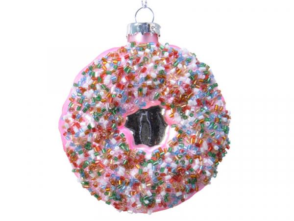 Acheter Boule de Noël donut à la fraise en verre - 3,49€ en ligne sur La Petite Epicerie - Loisirs créatifs