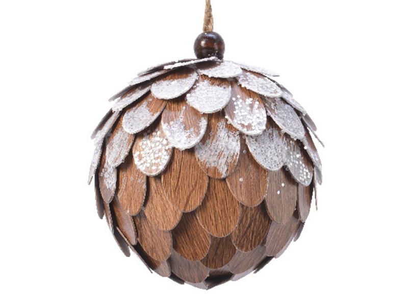 Acheter Boule de Noël à écailles - bois clair - 8 cm - 2,99€ en ligne sur La Petite Epicerie - Loisirs créatifs