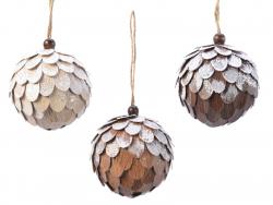 Acheter Boule de Noël à écailles - bois - 8 cm - 2,99€ en ligne sur La Petite Epicerie - Loisirs créatifs