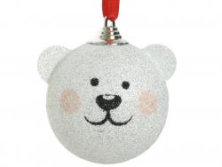 Acheter Boule de Noël nounours blanc à paillettes - 8 cm - 2,49€ en ligne sur La Petite Epicerie - Loisirs créatifs