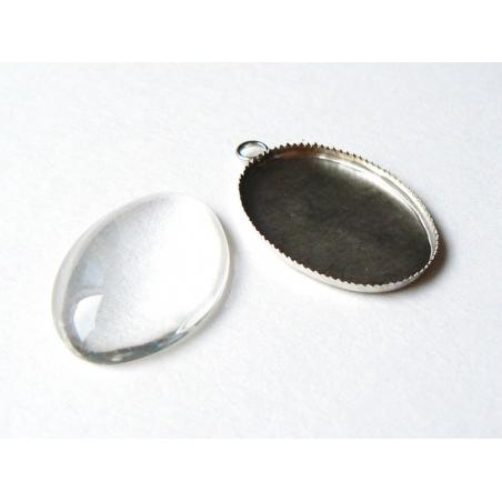 Acheter Pendentif cabochon en verre à personaliser Ovale - couleur argent - 2,29€ en ligne sur La Petite Epicerie - 100% Loi...
