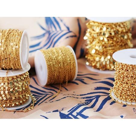 Acheter Chaine petites pampilles rondes espacées - doré à l'or fin 18K x 20 cm - 3,69€ en ligne sur La Petite Epicerie - Loi...