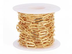 Acheter Chaîne trombone - 12 x 4 mm - doré à l'or fin 18K x 20 cm - 1,99€ en ligne sur La Petite Epicerie - Loisirs créatifs
