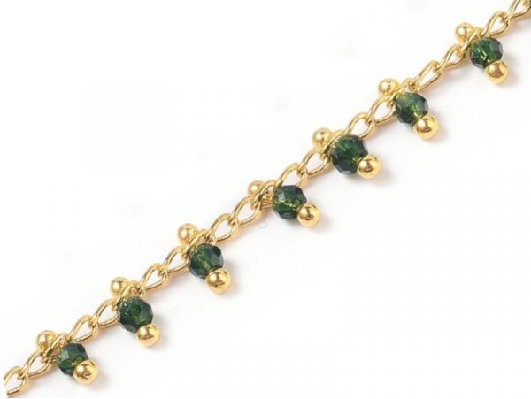 Acheter Chaine perles facettes - vert foncé - doré à l'or fin 18K x 20 cm - 2,69€ en ligne sur La Petite Epicerie - Loisirs ...