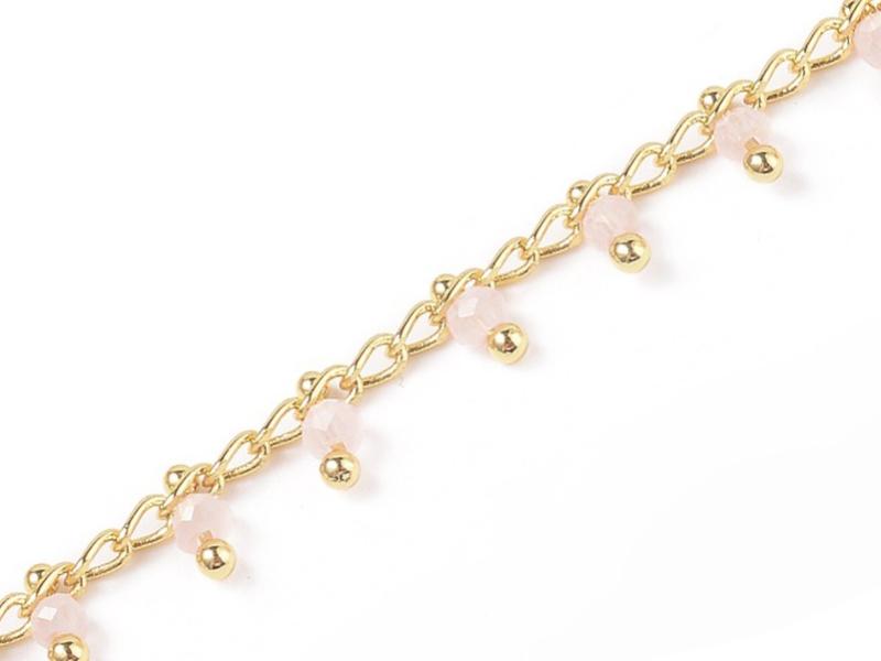 Acheter Chaine perles facettes - rose poudre - doré à l'or fin 18K x 20 cm - 2,69€ en ligne sur La Petite Epicerie - Loisirs...