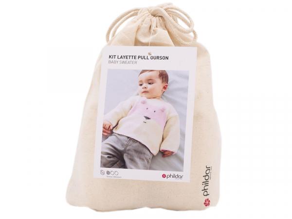 Acheter Kit de tricot layette pull ourson - Rose - 29,89€ en ligne sur La Petite Epicerie - Loisirs créatifs