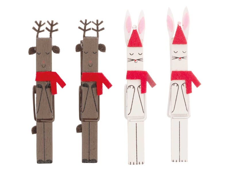 Acheter 4 pinces en bois - petits rennes et lapins - 3,69€ en ligne sur La Petite Epicerie - Loisirs créatifs