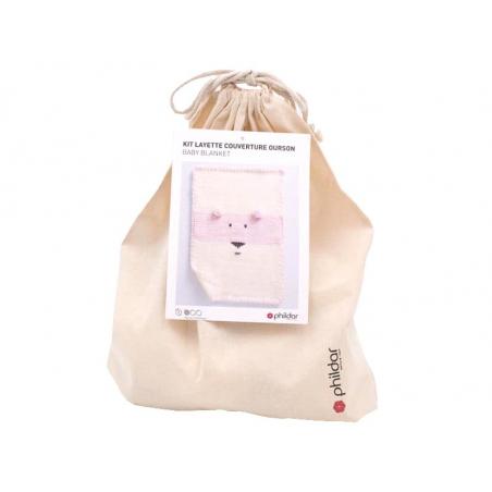 Acheter Kit de tricot layette couverture ourson - Rose - 34,89€ en ligne sur La Petite Epicerie - Loisirs créatifs