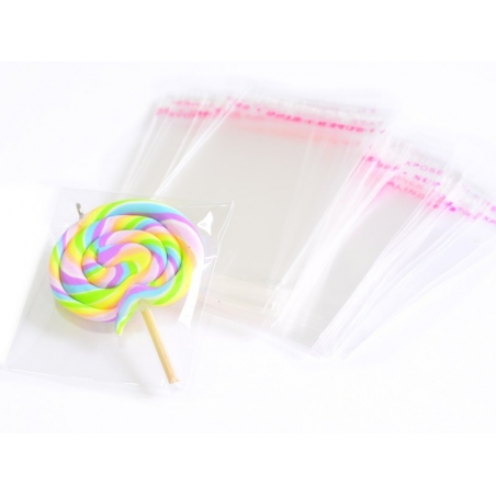 200 transparent plastic bags with adhesive strips - 9 cm x 12 cm