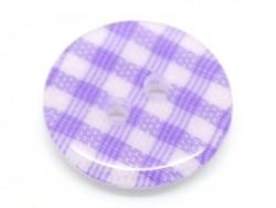 Bouton plastique rond 15 mm - vichy mauve
