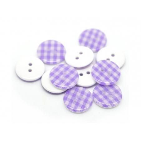 Round plastic button (15 mm) - Mauve Gingham pattern