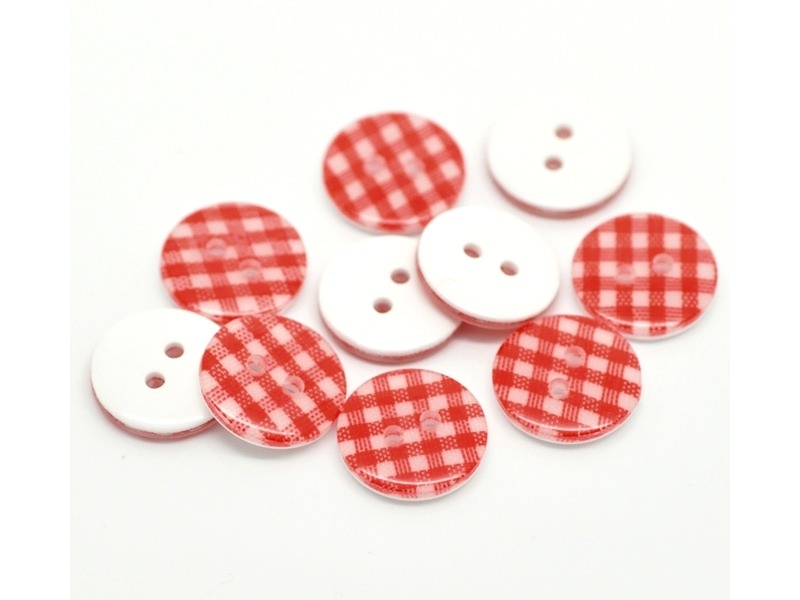 Round plastic button (15 mm) - Red Gingham pattern
