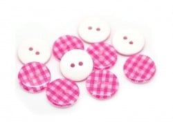 Round plastic button (15 mm) - Pink Gingham pattern