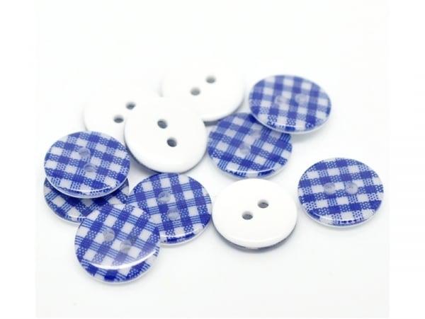 Round plastic button (15 mm) - Navy-blue Gingham pattern