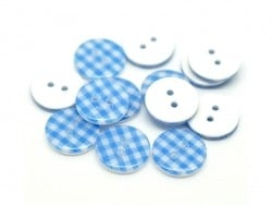 Round plastic button (15 mm) - Sky-blue Gingham pattern