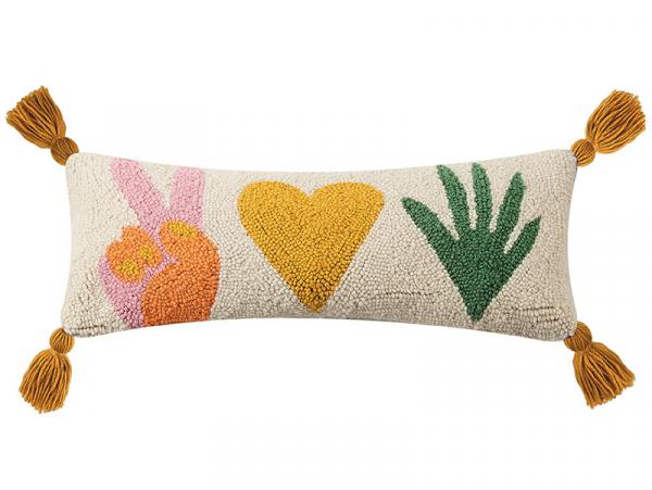 """Acheter Coussin punch needle """"Peace, love and plant"""" - 20,3 x 50,8 cm - 39,99€ en ligne sur La Petite Epicerie - Loisirs cré..."""