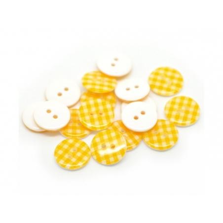 Bouton plastique rond 15 mm - vichy jaune d'or