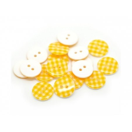 Round plastic button (15 mm) - Golden yellow Gingham pattern