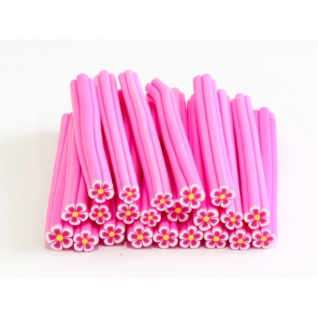 Flower cane - pink with a yellow centre