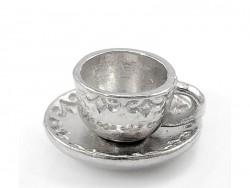 1 Teetassenanhänger - silberfarben