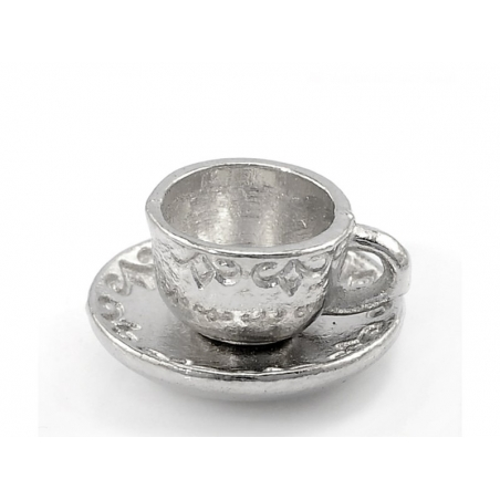 1 cup of tea charm - silver-coloured