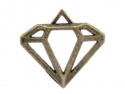 1 Breloque diamant ajouré - couleur bronze  - 1