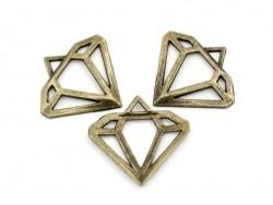 1 Breloque diamant ajouré - couleur bronze