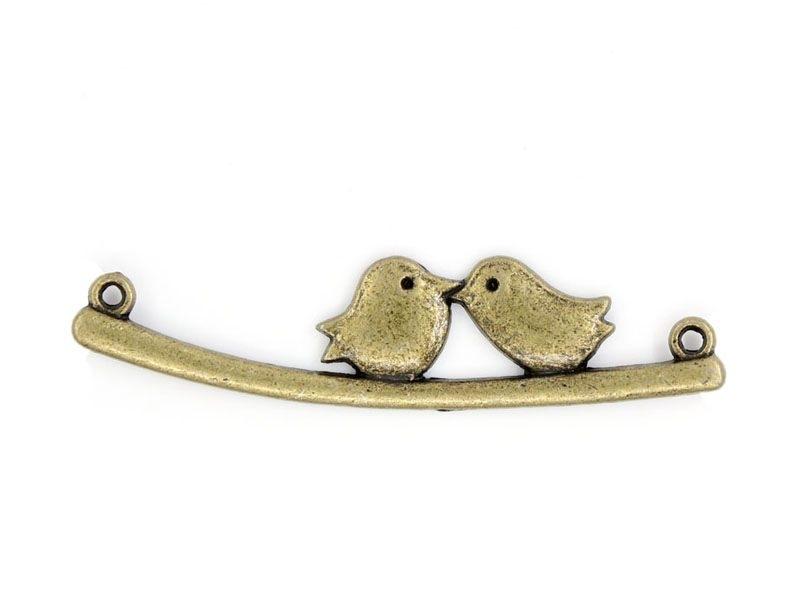 1 lovebirds charm - bronze-coloured