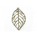 1 Breloque feuille ajourée - couleur bronze