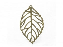 1 openwork leaf charm - bronze-coloured