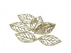 1 openwork leaf charm - bronze-coloured
