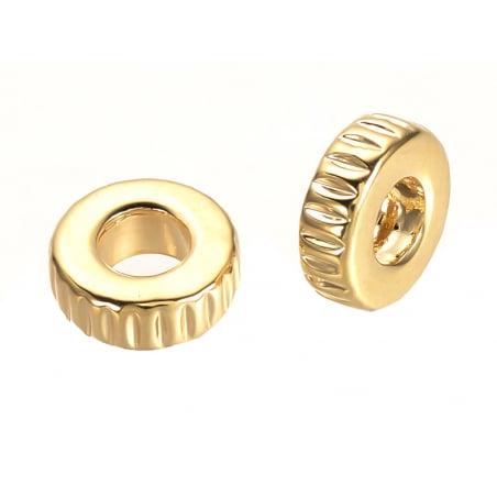 Acheter 10 perles intercalaires à motifs - doré à l'or fin 18k - 6,5 x 2 mm - 5,49€ en ligne sur La Petite Epicerie - Loisir...