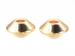 Acheter 10 perles intercalaires Toupie - doré à l'or fin 18k - 7 x 4 mm - 3,99€ en ligne sur La Petite Epicerie - Loisirs cr...