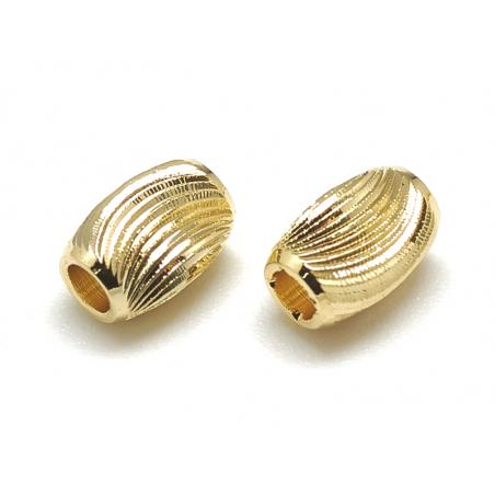 Acheter 10 perles ondulées - doré à l'or fin 18k - 6 x 4 mm - 4,79€ en ligne sur La Petite Epicerie - Loisirs créatifs