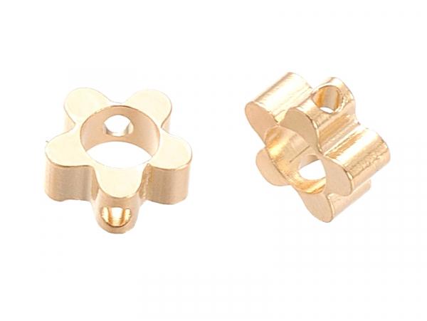 Acheter 10 perles fleurs - doré à l'or fin 18k - 6 x 6 x 2,5 mm - 4,99€ en ligne sur La Petite Epicerie - Loisirs créatifs