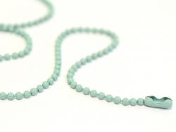 Collier chaine bille bleue ciel mat - 60 cm