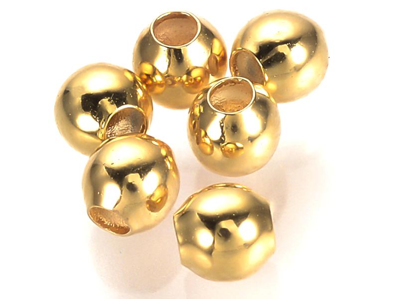 Acheter 50 perles rondes séparateurs - doré à l'or fin 18k - 3 mm - 4,99€ en ligne sur La Petite Epicerie - Loisirs créatifs