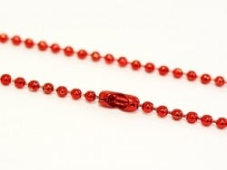 Collier chaine bille rouge brillant - 60 cm