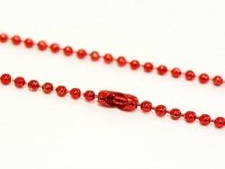 Glänzende, rote Kugelhalskette - 60 cm