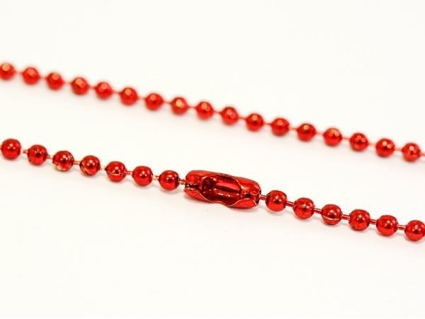 Collier chaine bille rouge brillant - 60 cm