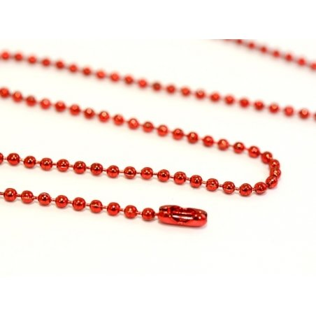 Shiny, red ball chain necklace - 60 cm