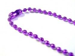 Collier chaine bille fine violet foncé - 60 cm