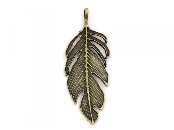Acheter 1 Breloque grande plume bronze - 2,79€ en ligne sur La Petite Epicerie - Loisirs créatifs