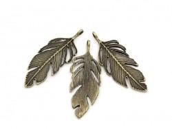 1 Breloque grande plume bronze