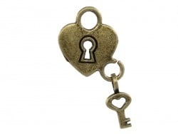 1 heart-shaped padlock charm with a key - bronze-coloured